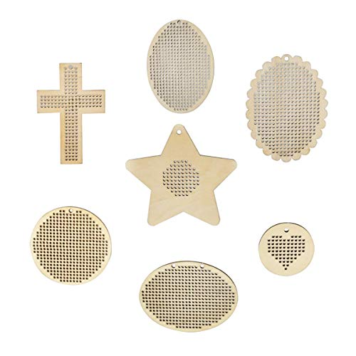 Embroidery Chips, Misscrafts 7Pcs Wooden Cross Stitch Plate Wooden Discs with Holes Mini Embroidery Template for DIY Crafts Wedding Decor Hanging Ornament 7 Sizes (Cross Stitch Hanging)