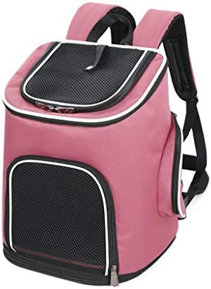 JIANXIN ペットキャリア、ポータブルペットバッグ、ペットアウトリュックサック、猫と犬バックパック、アウトレットバックパック(3色) (色 : Pink)