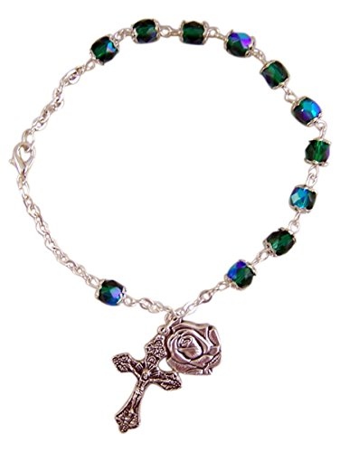 Double Capped Green Glass Bead Rosary Bracelet with Rose Petal Medal Charm, 8 Inch