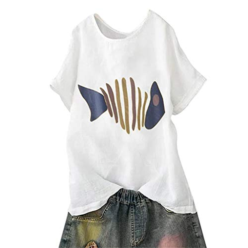 Women Cotton Linen Casual Plus Size Short Sleeve o Neck Print Blouse top Shirt Herringbone White