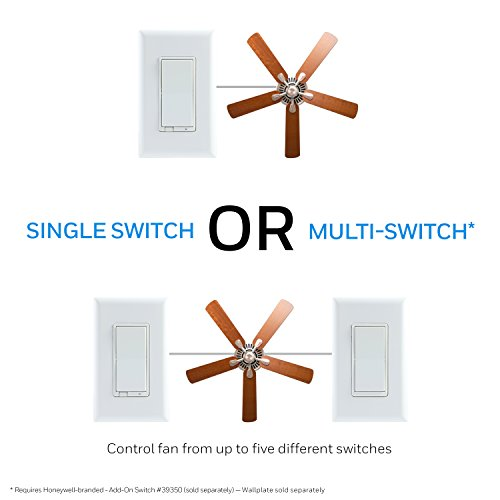 Honeywell Plus Smart Fan In-Wall Switch, White and Almond Range   ZWave Hub Required - Wink, Alexa 39358