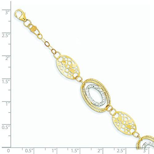 14 carats-Bicolore texturé et poli Bracelet-JewelryWeb