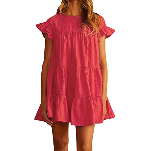 (Sunmoot Women Casual Ruffled Dress Sexy Butterfly Short Sleeve Babydoll Dress Evening Party A-Line Mini Dress Red)