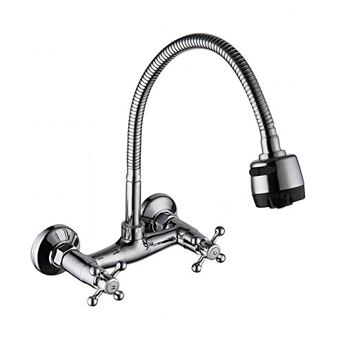 Wall Mount Kitchen Faucet Sprayer (Chrome Rotatable Two Handles Wall Mount Kitchen Sink Faucet with sprayer, two Holes Distance 5.9- inch, Pack 1)