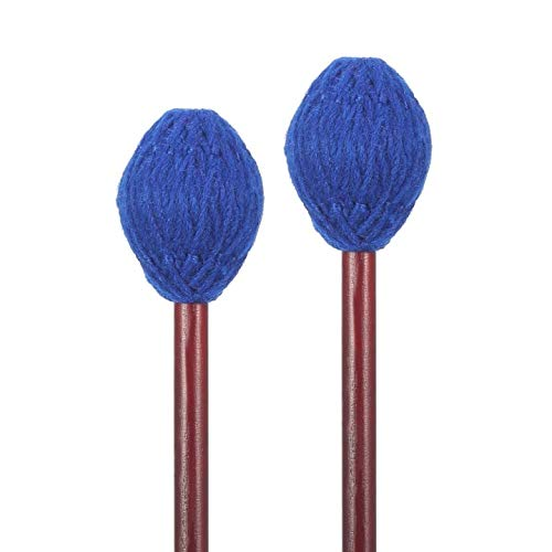 waloden 1 Pair Maple Handles Blue Yarn Head Hard Keyboard Marimba Mallets, Medium Hard