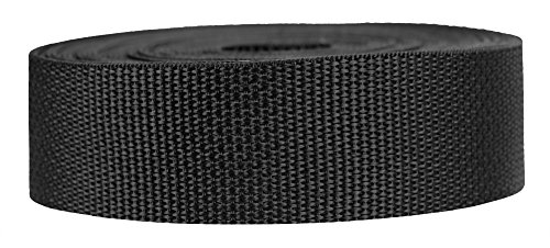 Strapworks Lightweight Polypropylene Webbing - Poly Strapping Outdoor DIY Gear Repair, Pet Collars – 1.5 Inch x 10 Yards, Black