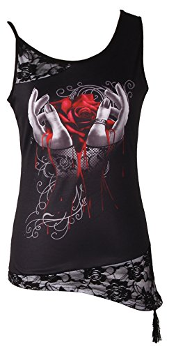 - Women Sleeveless Blouse Skull Print Lace Patchwork Tee Tops Plus Size T-Shirts