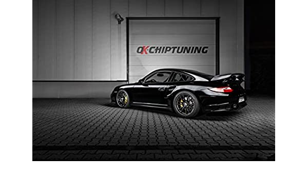 Amazon.com: Porsche 911 (997) GT2 by OK-Chiptuning (2014) Car Art Poster Print on 10 mil Archival Satin Paper Black Rear Side Static View 36