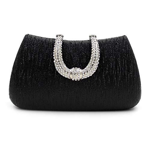 ZHRUI Ladies Shaped Diamond Handbag for Bag Party White Handmade Black Buckle U Wedding Evening Clutch Color Ladies 8rq5A8cw