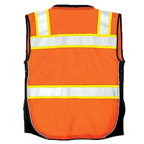 Vero1992 Vest Mens Class 2 Black Series Serveyors Utility Pockets Safety Vests Premium Black Series Serveyors Vest (Medium, Orange/Black) by Vero1992 (Image #1)