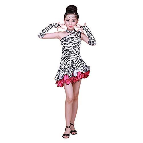 YRD TECH Ding Practice Dance Skirt, Leopard Print Pleats Dress+ Necklace + Oversleeve Black