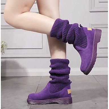 Damen Stiefel Komfort Komfort Komfort Silikon Frühling Casual Komfort Fuchsia Lila Schwarz Flat eb463e