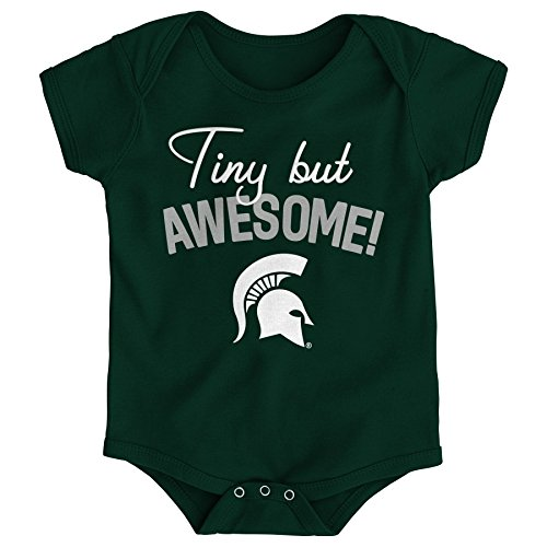 NCAA Michigan State Spartans Newborn & Infant Awesome Script Bodysuit, 12 Months, Hunter Green