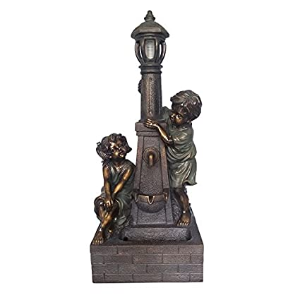 36.02u0026quot; Kids Lamp Post Fountain Little Boy And Girl Resin Statue  Includes Pump With Adjustable