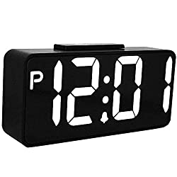 TXL LED Digital Alarm Clock with USB, Large Dimmable LED Snooze Clock for Bedroom Gym Room/Office, Easy to Set 12 Hr Mode, Extra Large Impaired Vision Digital Clock, Not Included Adapter