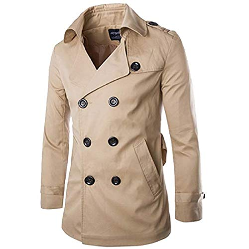 Stylish Fashion Classic Coat, Mens Short Single Breasted Trench Coat Pea Coat Overcoat Windbreaker Jacket (US M=Tag M) -