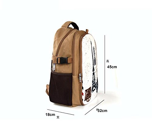 """Colorfulbags® NEW HOT Selling Eiffel Tower 32 ounce cotton (boy & girl) Comfortable Rucksack Bookbag Satchel Shoulder Cover Outdoor School Traveling Gym Bag Office Casual Canvas Backpack Bag Washable Case Protector ,holds laptops 12"""" 13"""" 14"""" 15"""" up to 15.6 inches in size , great for traveling , office and school (The Front part is removable)"""