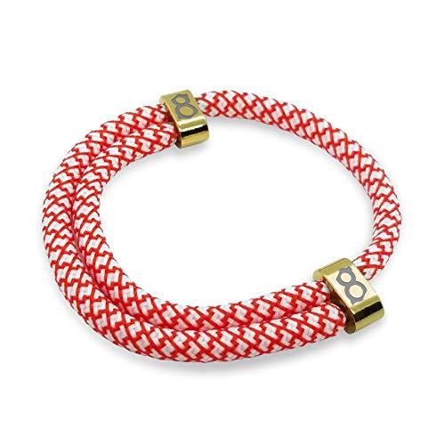 st8te Men's & Women's Adjustable Rope Bracelets - White/Red Rope (Bronze Slider)