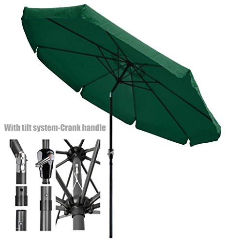 New Patio Style Valance Umbrella 10ft Aluminum Pole UV-Blocking Outdoor Durable Anti Fade Polyester Canopy With Tilt system-Crank Handle - Curtains Net Lewis John