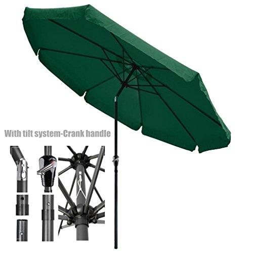 New Patio Style Valance Umbrella 10ft Aluminum Pole UV-Blocking Outdoor Durable Anti Fade Polyester Canopy With Tilt system-Crank Handle - New Malta Styles