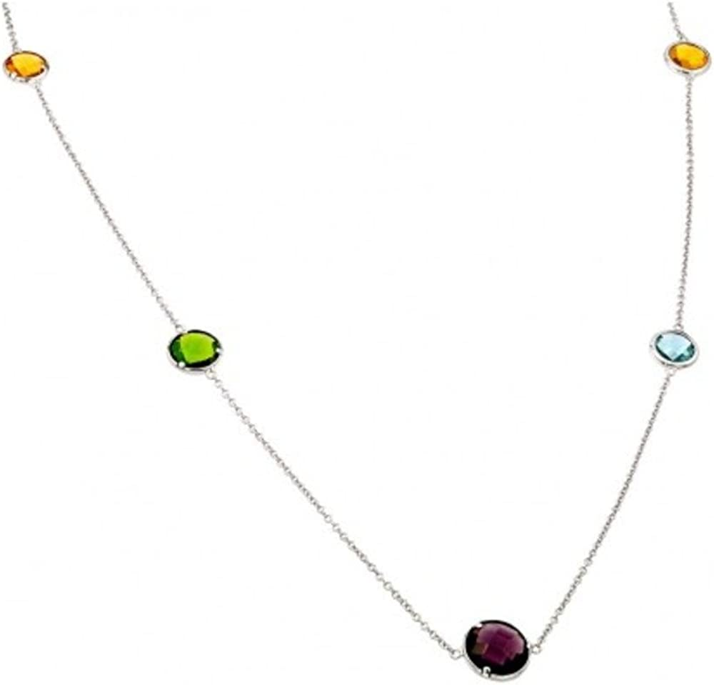 CloseoutWarehouse Multicolor Bezel Set Cubic Zirconia By The Yard Necklace Rhodium Plated Sterling Silver