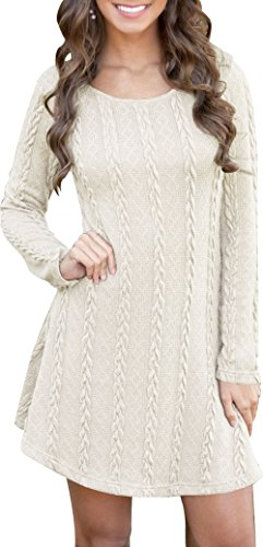 Women Winter Soft Slim Fit Knitted Crew Neck Long Sleeve Sweat Dress Pullover Tunics Sweater White XXL