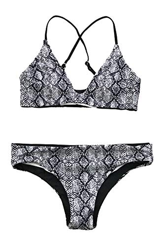 CUPSHE Women's Snake Print Reversible Back Cross Bikini, Black, Medium