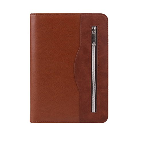 Gifts for Men and Women,SAYEEC A5 Executive Conference Folder Zip Around PU Leather Business Resume Portfolio Padfolio Organizer with iPad Mini or Tablet Sleeve Holder Refillable Loose Lined Paper