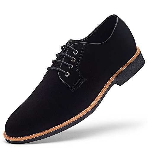 GOLAIMAN Men's Suede Leather Oxford Shoes casual Lace up Dress Shoes BLACK 10 D (M) US