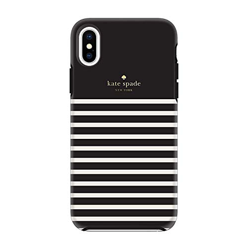 (Kate Spade New York Phone Case | for Apple iPhone X and XS | Protective Phone Cases with Slim Design, Drop Protection, Black with Cream Stripes (Black-Stripe) )