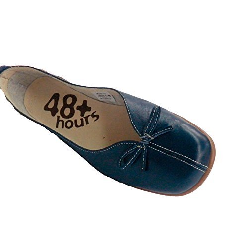 Made In Spain Frau Keilschuh Manoletina Niedrigen Spann Öffnungsschleife 48 Hours Blau Blau