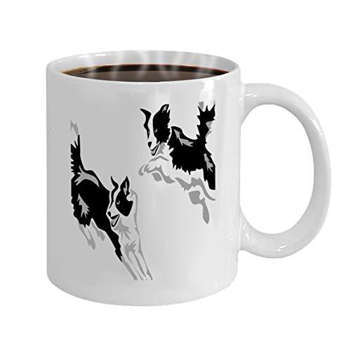 Custom Mugs White Ceramic 11 Oz agility border collie jumping stylized greyscale