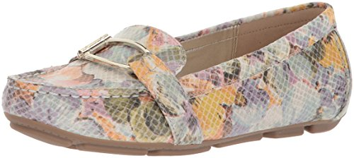 AK Anne Klein Sport Womens Petra Leather Loafer Flat Ivory Light Green/Multi Leather