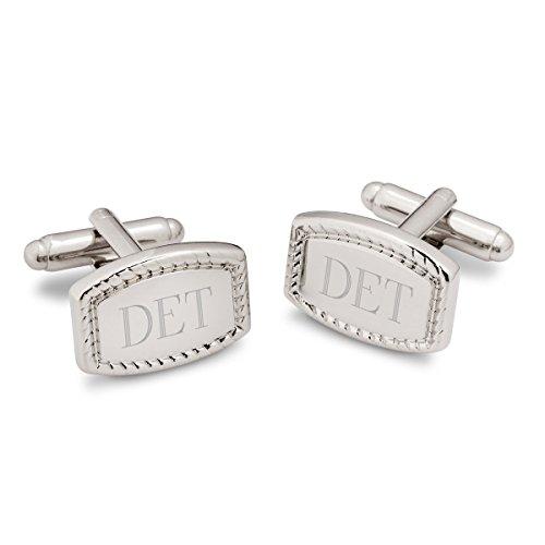 Personalized Beaded Rectangular Cufflinks - Personalized Cufflinks - Monogrammed Cufflinks