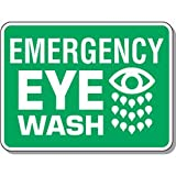 Aluminum Heavy-Duty First Aid & Eyewash Sign - Emergency Eye Wash with Graphic - 18''h x 24''w