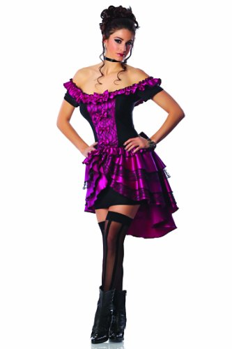 Delicious Dance Hall Queen Costume, Magenta/Black, Small (Wild West Saloon Girl Costume)