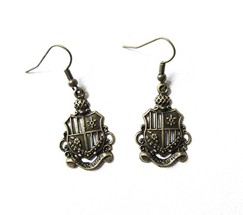 Coat of Arms Earrings Antique Brass Coat of Arms Charm Earrings