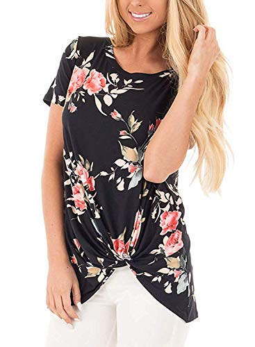 Twisted Knot Top - Fantastic Zone Women's Short Sleeve Casual Solid T Shirts Front Knot Twist Tunics Tops Blouses