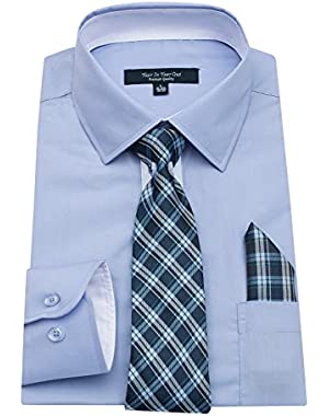 Mens Long Sleeve Dress Shirts Slim Fit Shirts For Men With Mathing Tie and Handkerchief