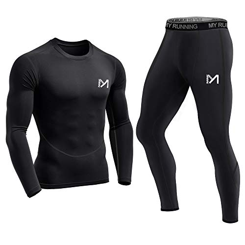 Base Layer Long Sleeve Shirt - Men's Base Layer Underwear Set, Cool Gear Quick Dry Long Sleeve Compression Shirt and Pants, Sport Fitness Long Johns