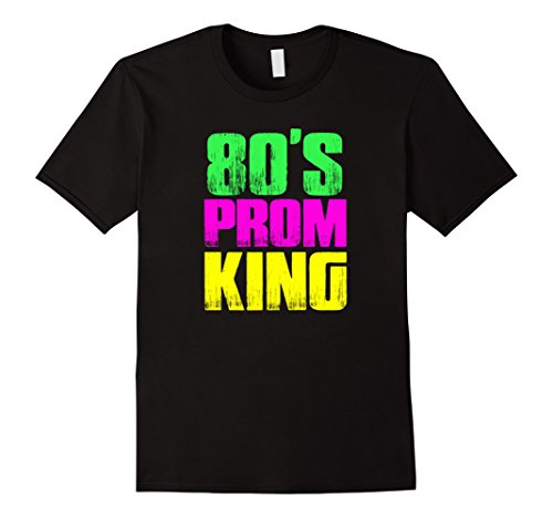 Men's Men's 80's Prom King Eighties Neon Party Shirt Costume Large Black (80s Guys Costume)