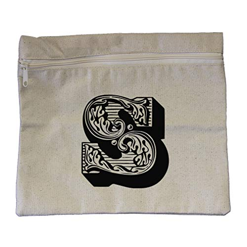 ''S'' Vintage Antique Monogram Letter S Cotton Canvas Zippered Pouch 12''x10'' by Style In Print