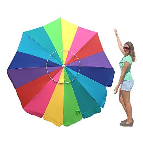 EasyGo 7 Foot Rainbow Beach Umbrella Heavy Duty Design Includes Sand Anchor & Carry Bag