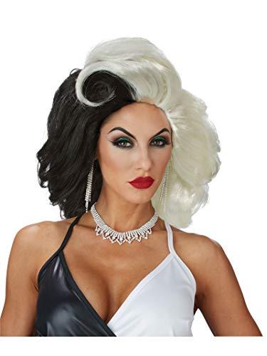 Cruella Deville Outfit (California Costumes Women's Cruel Diva Adult Wig, Black/White, One)