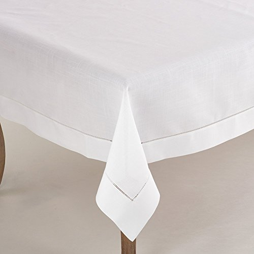 Fennco Styles Rochester Collection Tablecloth with Hemstitched Border, 60 Square