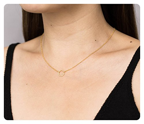 Fremttly 14k Gold Fill Dainty Circle Necklace • Open Circle Chain (Delicate Gold Necklaces)