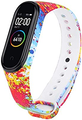 Smartband Band Compatible for Xiaomi Mi Band 4 Straps Smartwatch Wristband Replacement Band Silicone Smart Bracelet, GAGAMO Colorful Painting ...