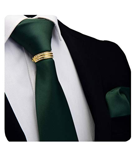 (GUSLESON Brand Solid Dark Green Classic Ties For Men Neckties and Pocket Square bar pins brooch Sets(0799-02-G))