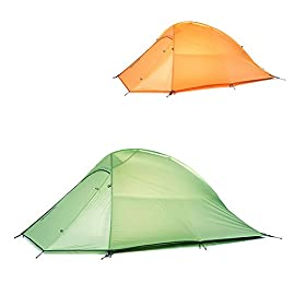 Weanas 1, 2 and 3 Person Ultralight Tent 3 Seasons Double Layer Backpacking Tent with Footprint, Free Standing Dome Camping Hiking Waterproof Backpack Tents 35 Easy to install (One person can install the tent easily and quickly. With high-strength aluminum poles, lightweight and it can stand high pressure.) Professional waterproof fabric (Waterproof index is over 5000mm. Wind proof by strong skeleton with the tent nails. SPF proof by special UV coating and breathable nylon.) Door can be opened from inside and outside, convenient and comfortable.