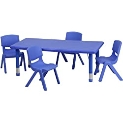Flash Furniture 24''W x 48''L Rectangular Blue Plastic Height Adjustable Activity Table Set with 4 Chairs